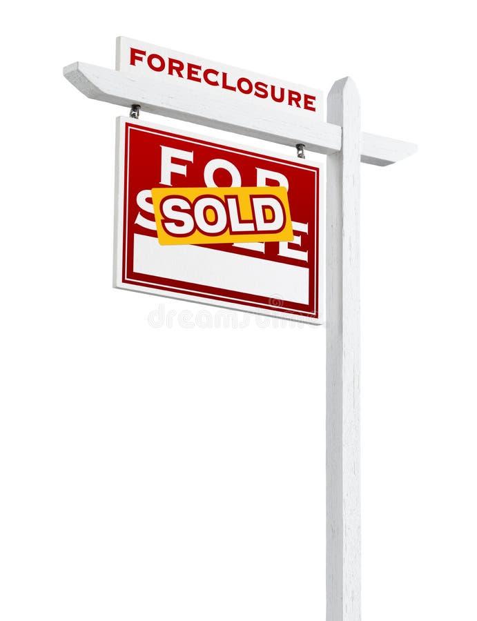 Forclusion gauche de revêtement vendue pour le signe de Real Estate de vente d'isolement images stock