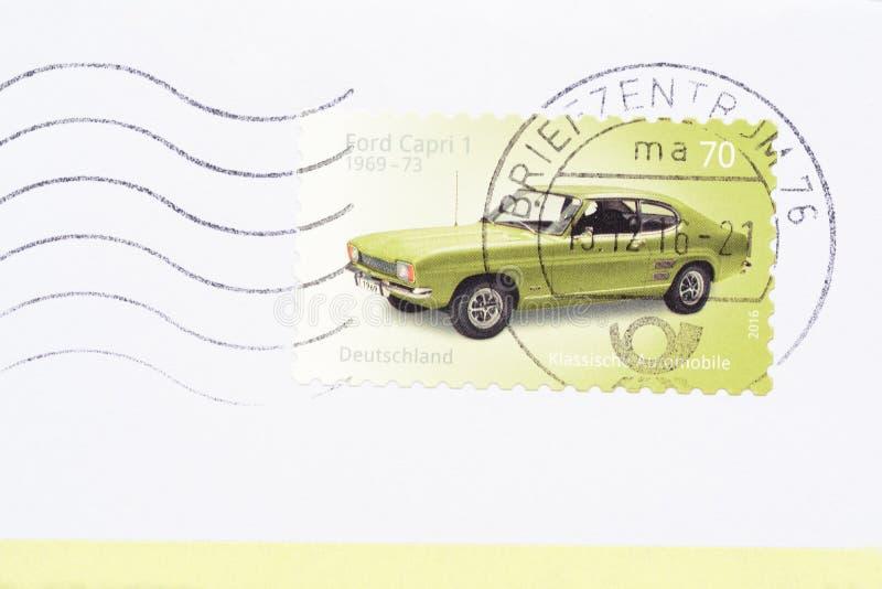 Ford Capri 1 coupé del fastback como sello alemán 2016 foto de archivo libre de regalías