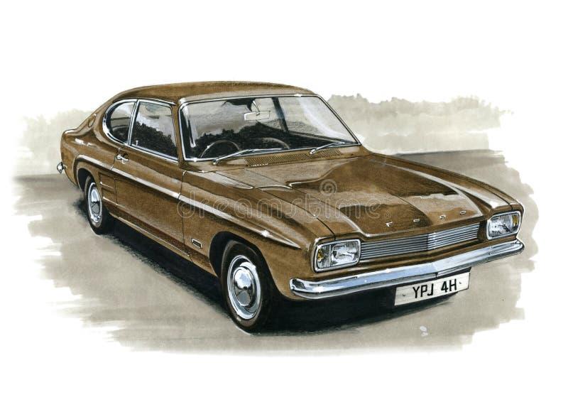 Ford Capri MkI 1300 stock illustrationer