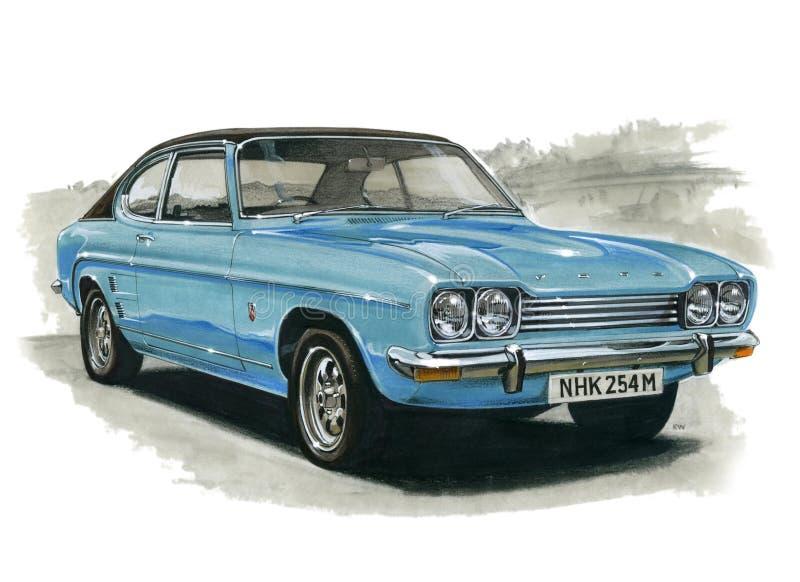 Ford Capri MkI 3000 GXL Facelift vektor illustrationer