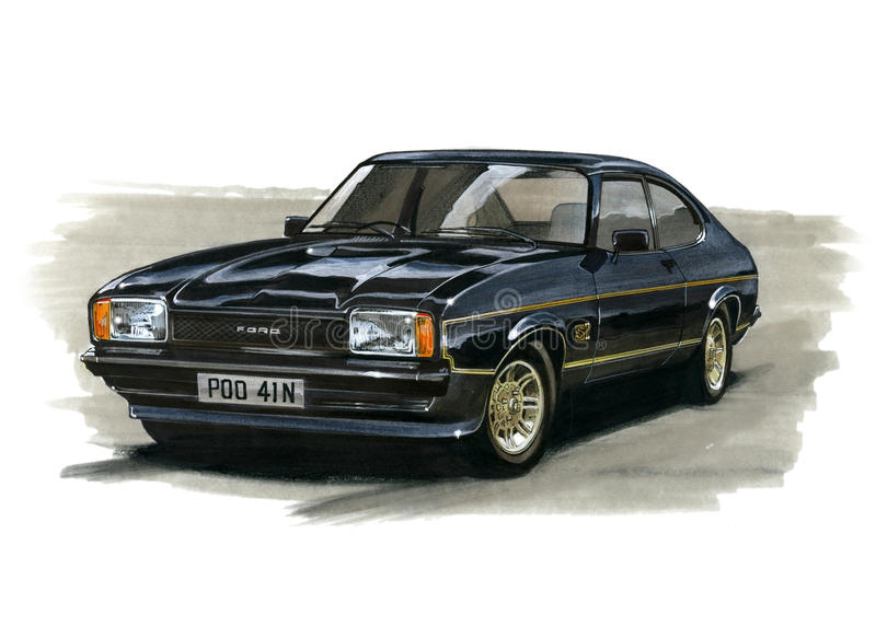 Ford Capri MkII 2 0 JPS (John Player Special) stock illustratie