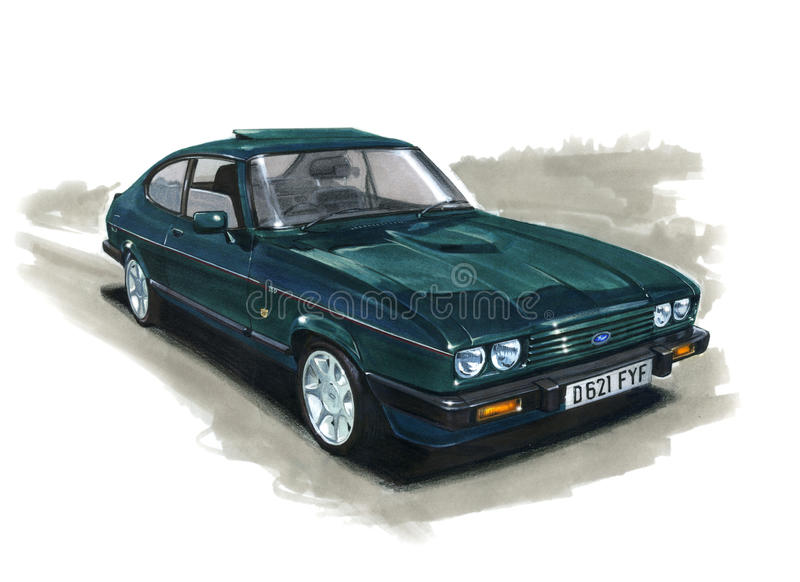 Ford Capri MkIII 280 Brooklands stock illustratie