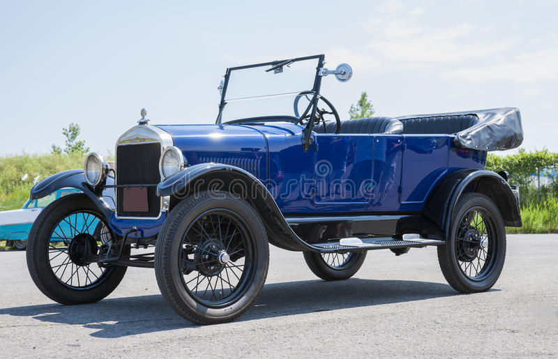 Ford car. Picture of the blue vintage ford car royalty free stock images