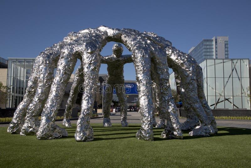 Ford centrum i kowboja skupiska rzeźba zdjęcia stock