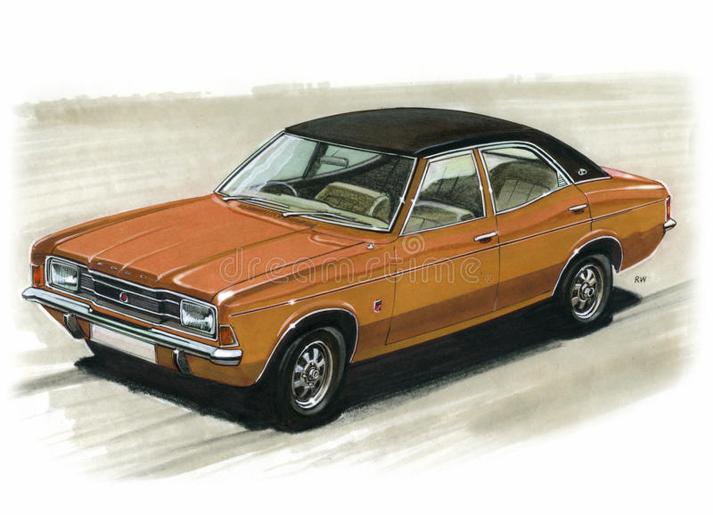 Ford Cortina Mk3 2000E. Illustration of a Ford Cortina Mk3 2000E royalty free illustration
