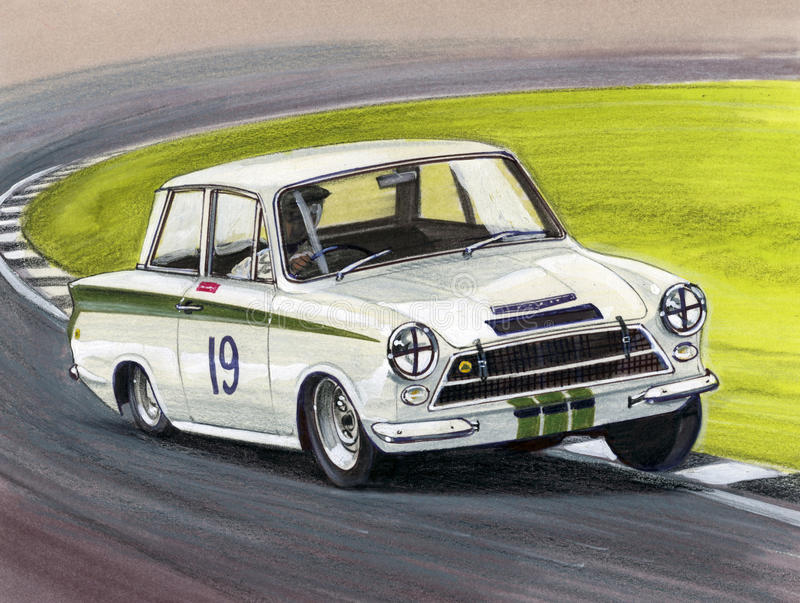 Ford Cortina Mk1 Lotus. Illustration of a Ford Lotus Cortina Mk1 royalty free illustration