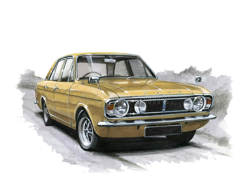 Ford Cortina MkII 1600E vector illustratie