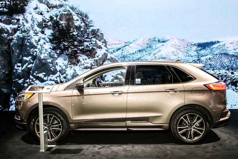 Ford Edge Titanium Elite. NEW YORK CITY-MARCH 28: Ford Edge Titanium Elite shown at the New York International Auto Show 2018, at the Jacob Javits Center. This stock images