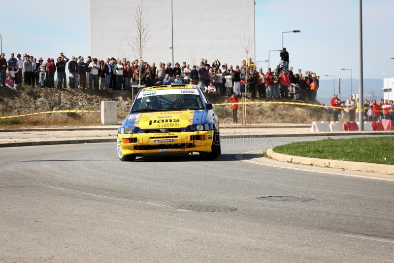 Ford Escort Cosworth during Portuguese Open Rally. CASTELO BRANCO, PORTUGAL - MARCH 10: Fernando Peres drives a Ford Escort Cosworth during Rally Castelo Branco royalty free stock photos