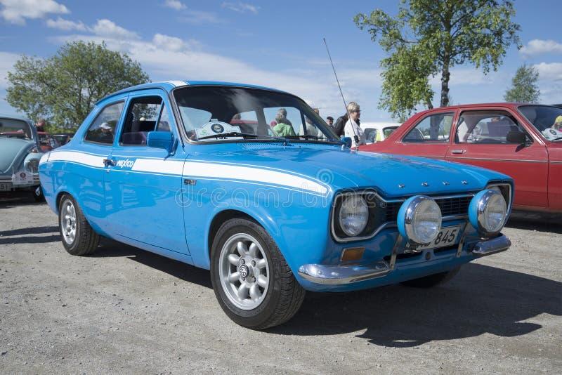 Ford Escort la primera generación en la versión del deporte de México 1600GT en el desfile de los coches del vintage Kerimyaki, F imagen de archivo