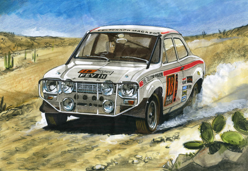 Ford Escort Mk1 1970 London to Mexico Rally vector illustration