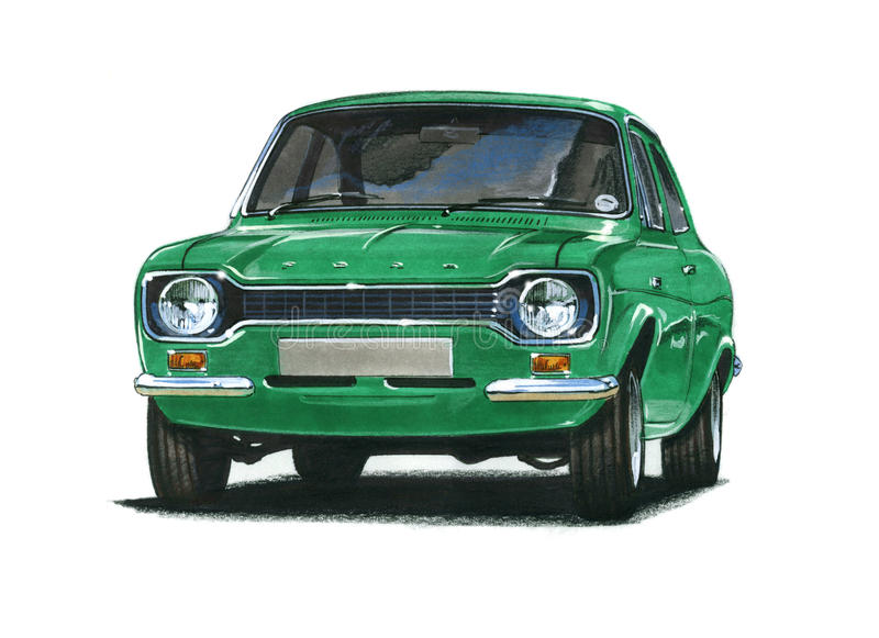 Ford Escort MkI RS2000 vektor illustrationer