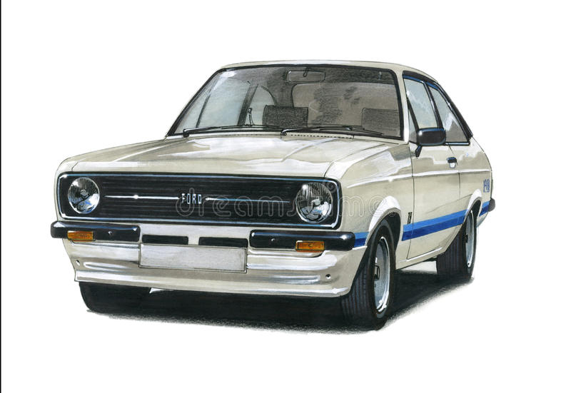 Ford Escort MkII RS1800 royalty-vrije illustratie