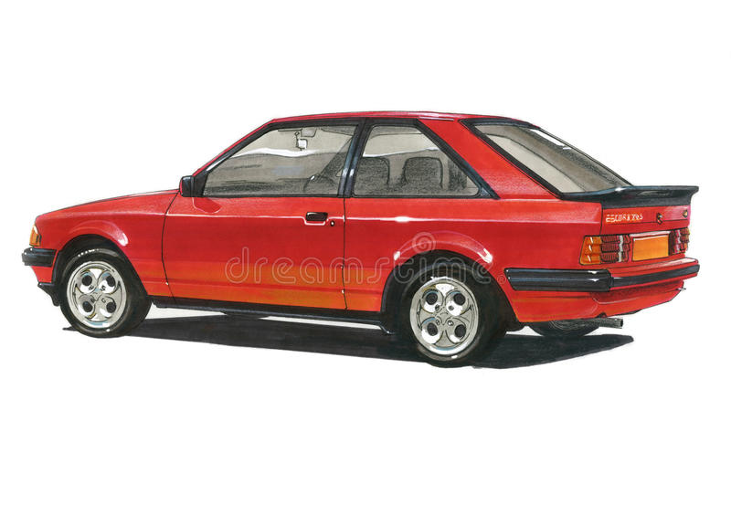 Ford Escort MkIII XR3 stock illustratie