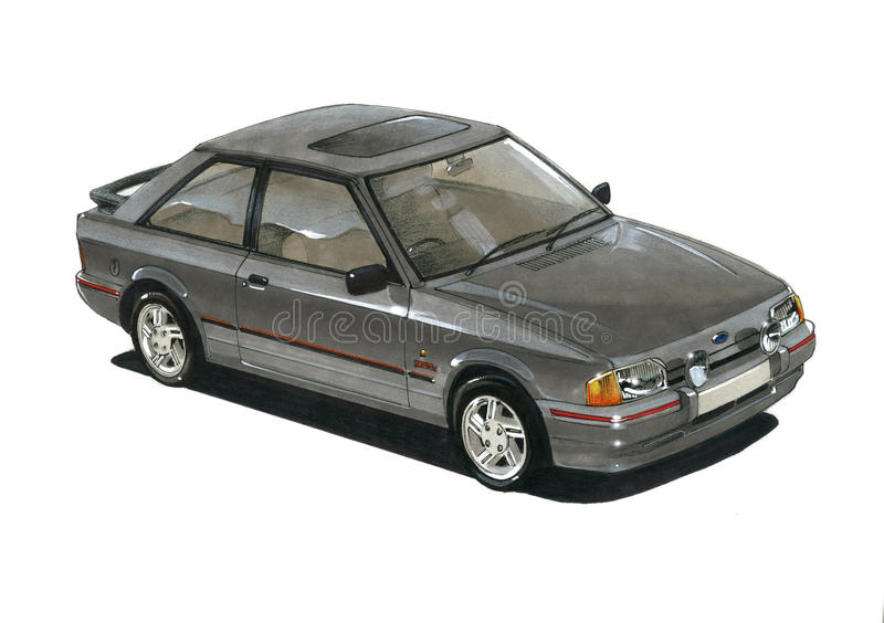 Ford Escort MkIV XR3i royalty-vrije illustratie