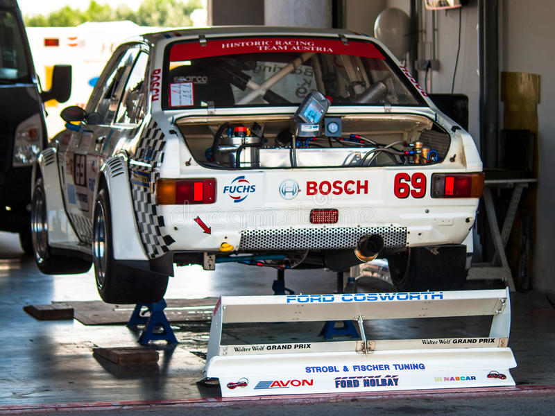 Ford Escort racing car. Classic racing car photographed during Histocup event on 2 August 2014 in Slovakia Ring, Slovak Republic royalty free stock photo