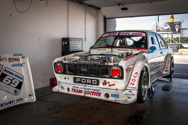 Ford Escort racing car. Racing car photographed during Histocup event on 2 August 2014 in Slovakia Ring, Slovak Republic royalty free stock images