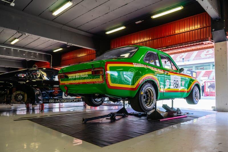 Ford Escort RS en la demostraci?n de coche montjuic del circuito de Barcelona del alcohol foto de archivo libre de regalías