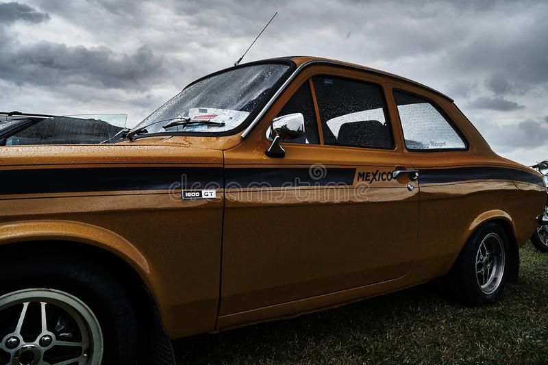 Ford Escort vintage classic car event. London Irish Vintage Club at Geenford event royalty free stock photos