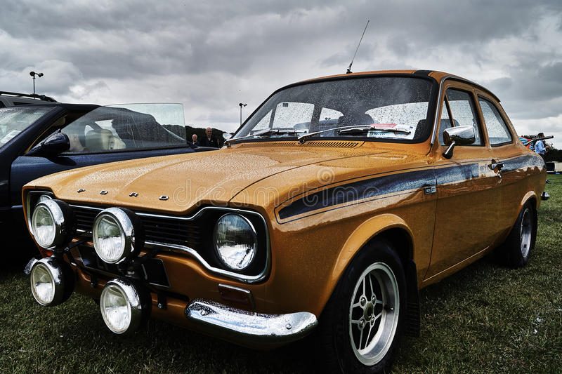 Ford Escort vintage classic car event. London Irish Vintage Club at Geenford event royalty free stock photo