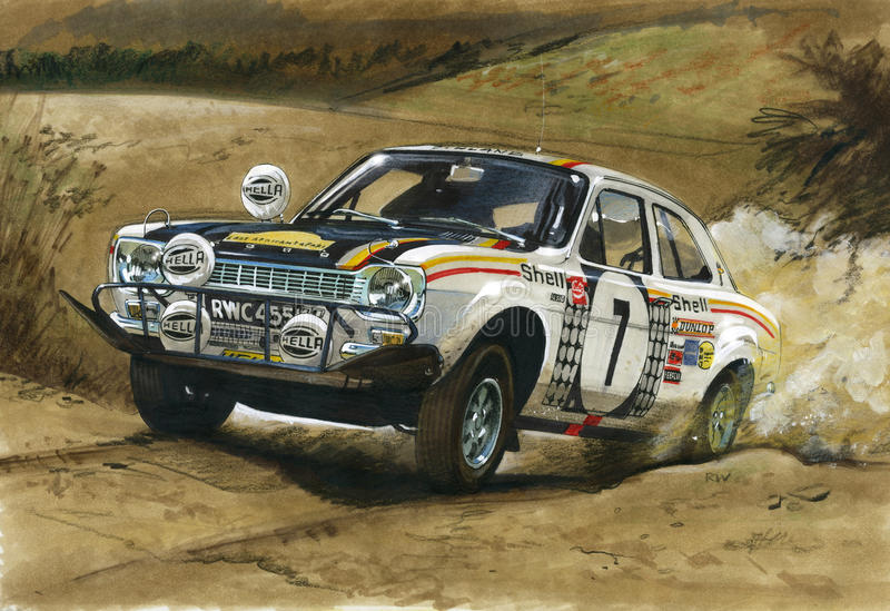 Ford eskorty MkI RS1600 afrykanina Wschodni wiec 1972 ilustracja wektor