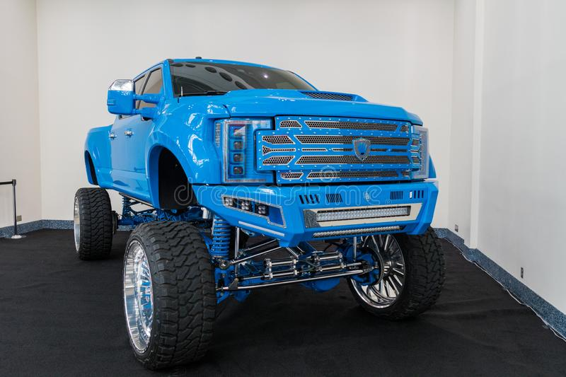 Ford F-250 Platinum on display during Los Angeles Auto Show royalty free stock image