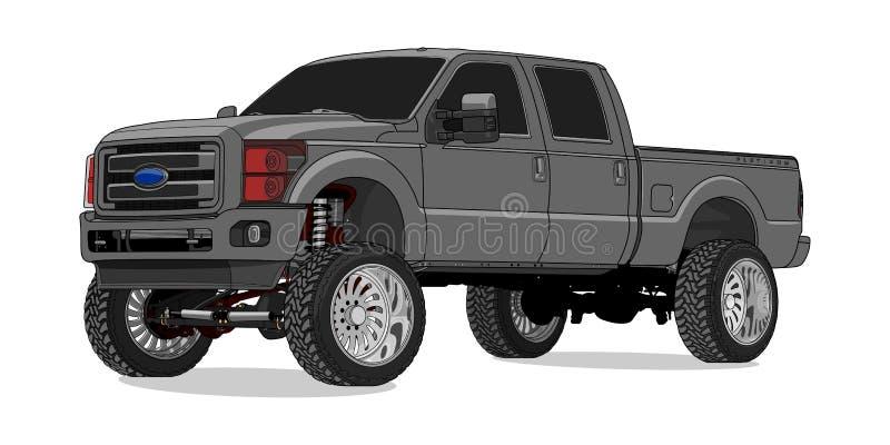 Ford F250 toppen arbetsuppgift i vektor royaltyfri illustrationer