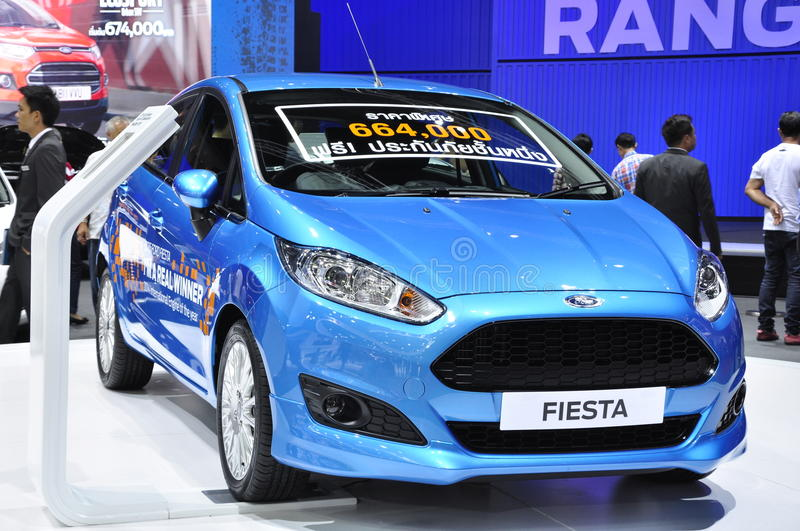 A 2015 Ford Fiesta is displayed at the 36th Bangkok International Motor Show royalty free stock photo