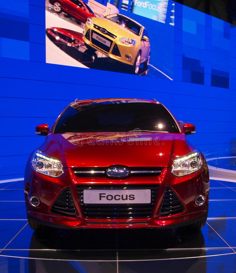 Ford Focus en la demostración de motor internacional de Ginebra fotos de archivo libres de regalías