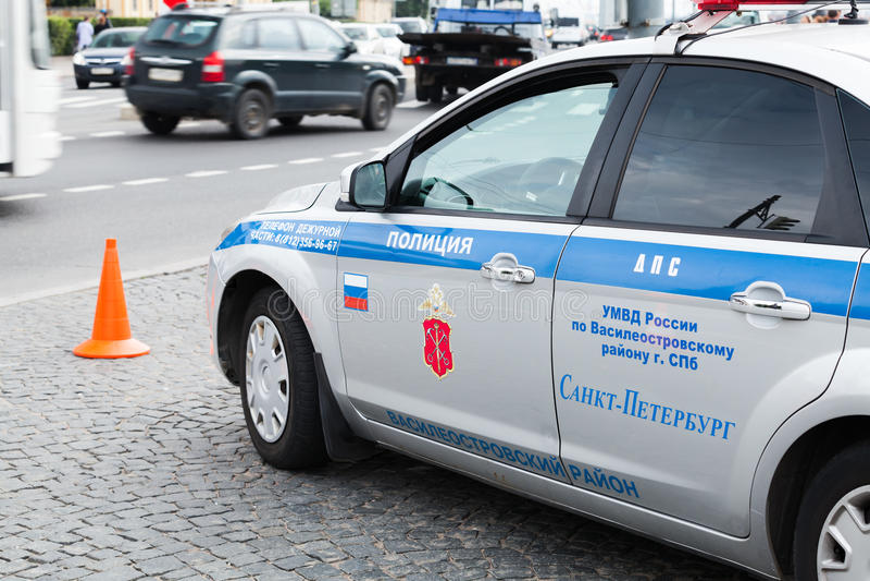 Ford Focus, voiture de police de la circulation russe photos stock