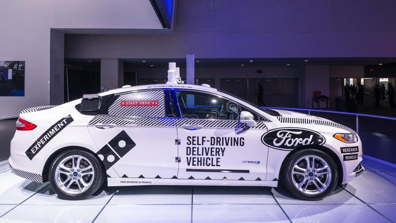 Ford Fusion Roush Performance Autonomous bil, NAIAS royaltyfri bild