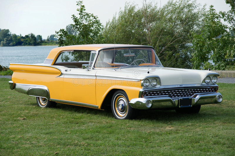 Ford Galaxie. Picture of the yellow and white 1959 Ford Galaxie royalty free stock photography