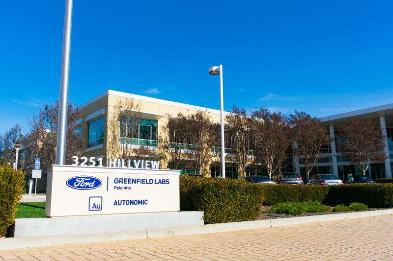 Ford Greenfield Labs and Autonomic sign at research institute campus of Ford Motor Company in Silicon Valley. Palo Alto, California, USA - 2020 stock images