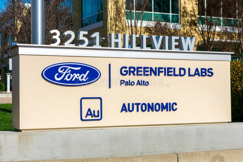 Ford Greenfield Labs and Autonomic sign at research institute campus of Ford Motor Company in Silicon Valley. Palo Alto, California, USA - 2020 royalty free stock photos