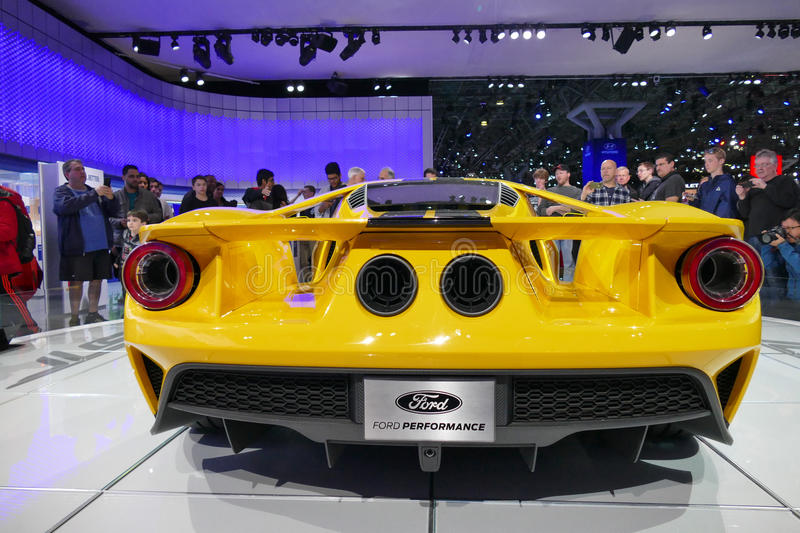 Ford GT at New York International Auto Show, rear view.JPG royalty free stock images