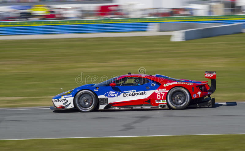 Ford GT race car at Daytona Speedway Florida. Ford GT GTP race car at practice for the 2016 Rolex 24 Hours of Daytona sports car race in Daytona Beach Florida royalty free stock photography