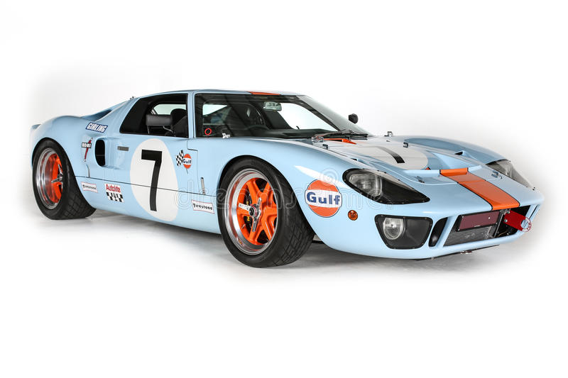 Ford GT40 Race Car Le Mans Isolated White Background Studio Shot. A studio photo isolated on white background of a Le Mans Race Car GT40 Ford in Racing Colours/ royalty free stock images