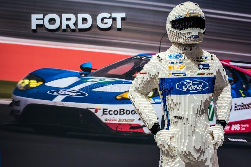 Ford GT utställningställning på den internationella motoriska showen 2018 för Genève fotografering för bildbyråer