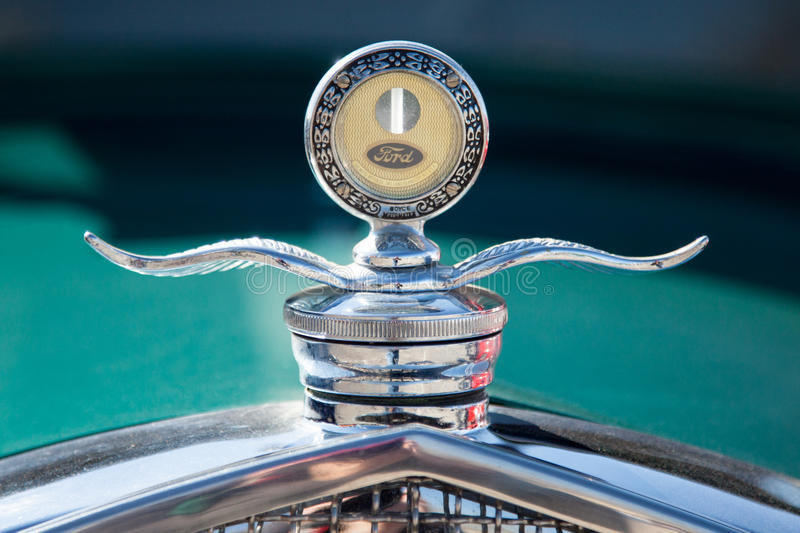 Ford Hood Ornament On Hot Rod image stock