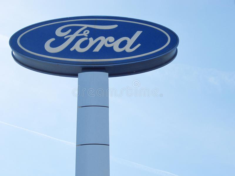 Ford logo in the blue sky royalty free stock images