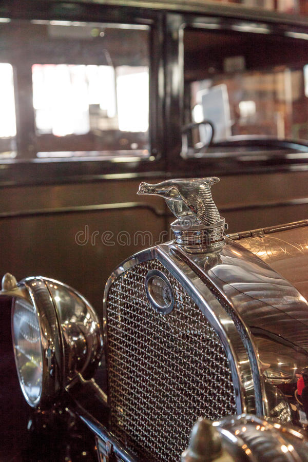 1931 Ford Model A Roadster. El Segundo, CA, USA - September 26, 2016: 1931 Ford Model A Roadster with a quail hood ornament displayed at the Automobile Driving royalty free stock photos