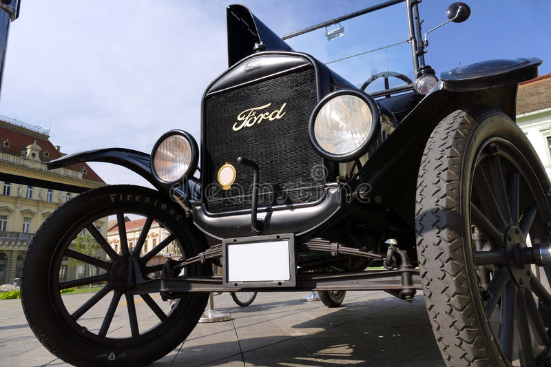 Ford Model T from 1921 parked in the town square. Zrenjanin ;Serbia ; 07.09.2016.Ford Model T from 1921 on exhibition of old cars stock image