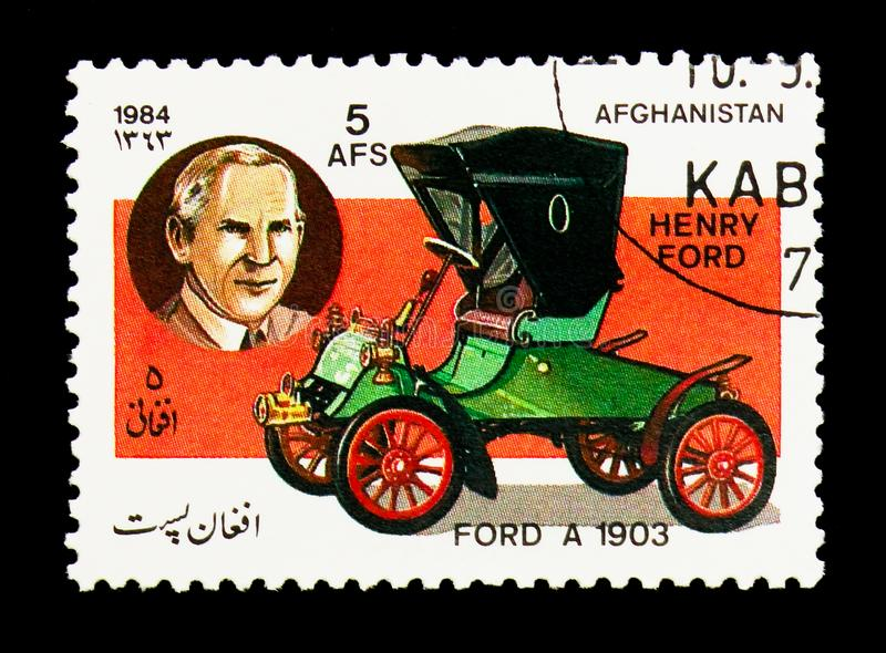 Ford Model A two-seater (1903) and Henry Ford, Motor cars serie, circa 1984 royalty free stock photo