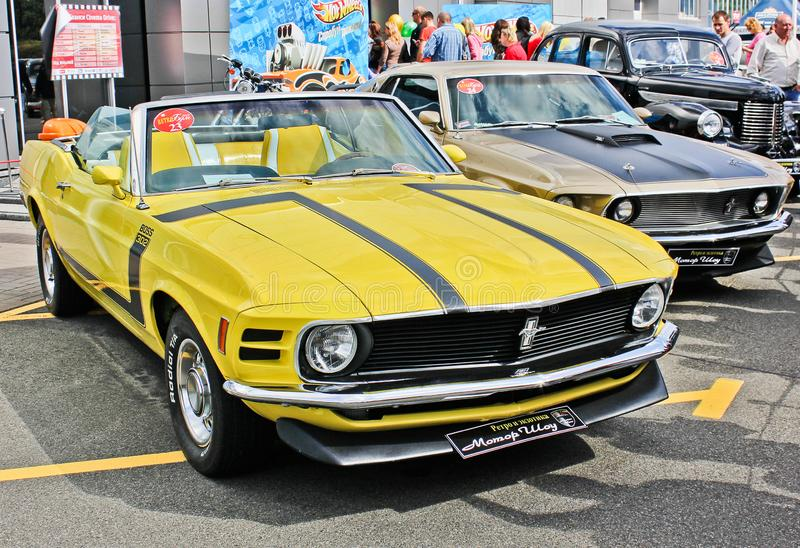 Kiev, Ukraine. May 25, 2013. 1970 Ford Mustang Boss 302. Hot Wheels royalty free stock images
