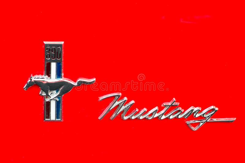 Ford Mustang 390 emblem royalty free stock images