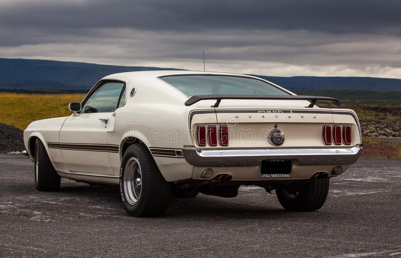 1969 Ford Mustang Mach 1. Image of a 1969 Ford Mustang Mach 1 at a drag racing event in Iceland royalty free stock photography