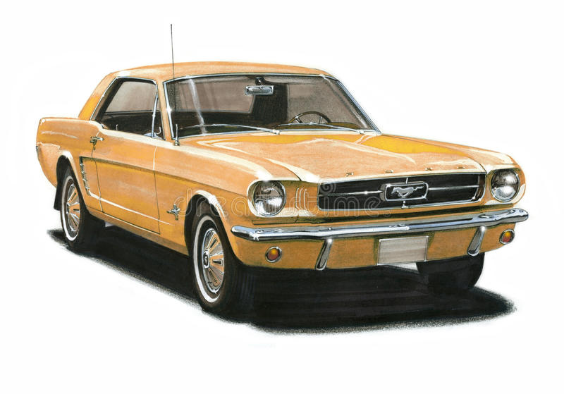 Ford MustangCoupe 1965 vektor illustrationer