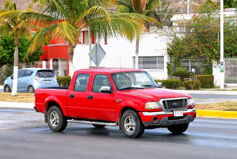 Ford Ranger. Campeche, Mexico - May 20, 2017: Red pickup truck Ford Ranger in the city street stock photography