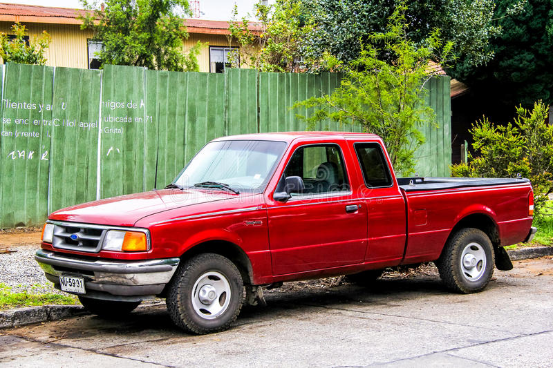 Ford Ranger. PUCON, CHILE - NOVEMBER 20, 2015: Motor car Ford Ranger at the town street stock photo