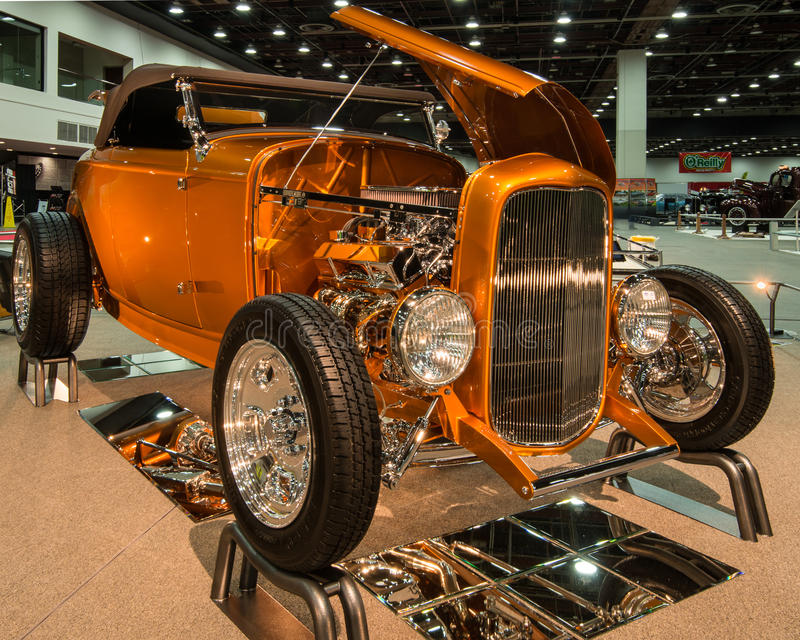 1932 Ford Roadster. DETROIT, MI/USA - FEBRUARY 27, 2016: A 1932 Ford Roadster interpretation, on display at the Detroit Autorama, a showcase of custom and stock image